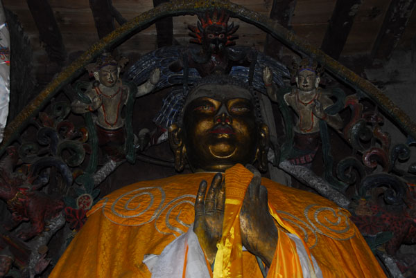 The Matreya Buddha in the Gompa of the Red House Lodge,Kagbeni, Nepal