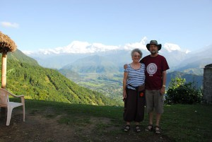 Alan and Jacqui in Sarankot, Pokhara, Nepal with the Annapurna Himal in the background