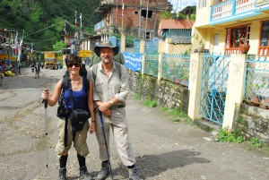 Pippa and Alan in the main street of Shyabru