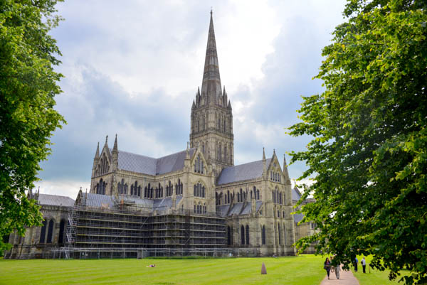 Salisbury Cathedral in Wiltshire. It has the tallest spire of any cathedral in England.