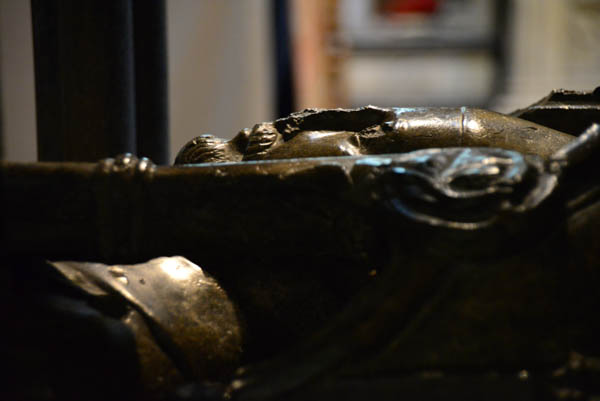 One of the many reclined statues of those buried in the cathedral. In this case, Robert Bingham, Bishop 1229 - 1246.