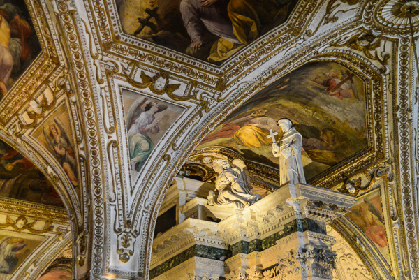 Inside the crypt of the church in Amalfi. They definitely like their churches to be decorated.