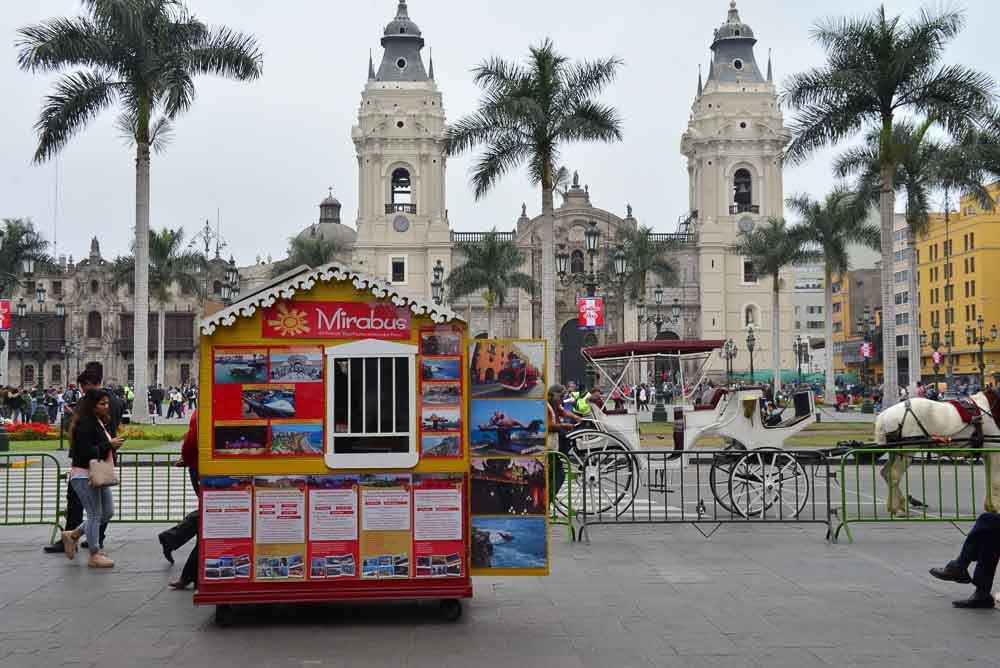 The cathedral in the main square of Lima Peru