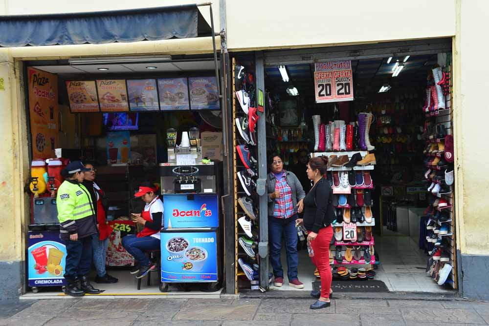 Shops on the Jr de la Union in Lima Peru